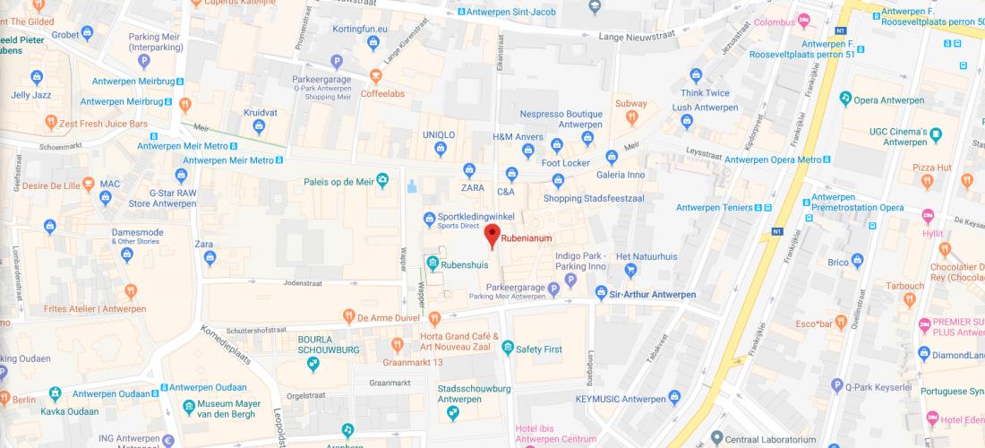 Rubenianum op de kaart van Antwerpen