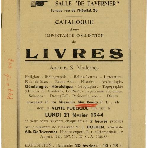 Cover van de veilingcatalogus van de bibliotheekcollectie van Max Rooses